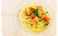 トマトとインゲンのかけぽんスパゲッティ