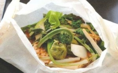 豆腐と山菜のパピエット(紙包み焼き)